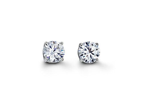 Sterling Silver CZ Studs 6mm