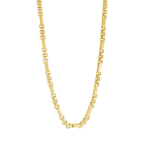 ITALGEM Gold Plated Stainless Steel 5MM Round & Rectangle Chain