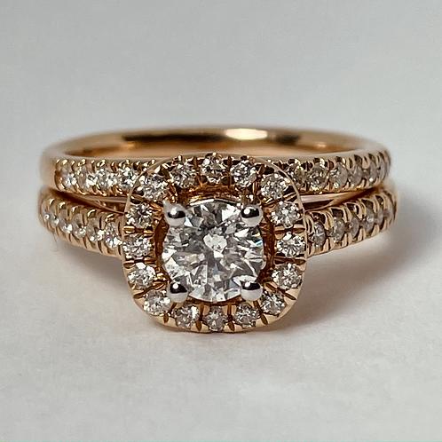 14kt Rose Gold Diamond Halo Engagement Ring Set