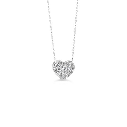 10K WG 0.10CT Diamond Pave Heart Pendant with Chain
