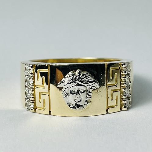 14kt Gold Diamond Medusa Ring