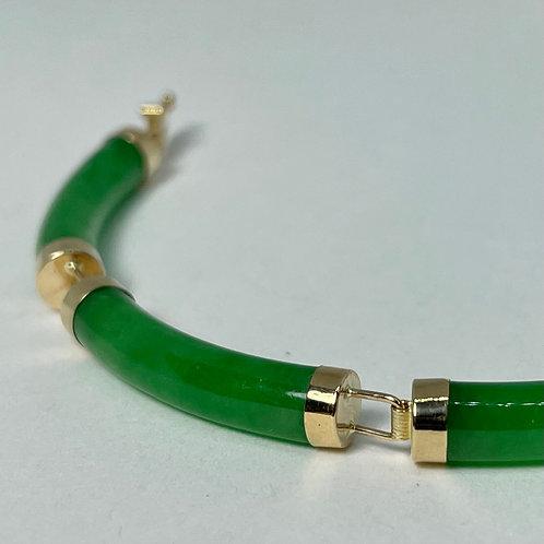 14k Yellow Gold Jade Bar Bracelet