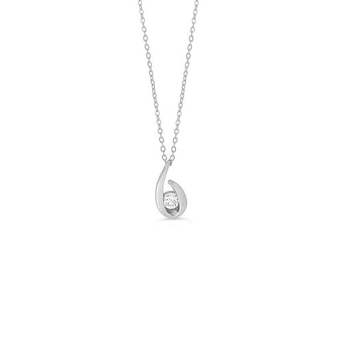 10K WG 0.07CT Diamond Open Loop Pendant with Chain