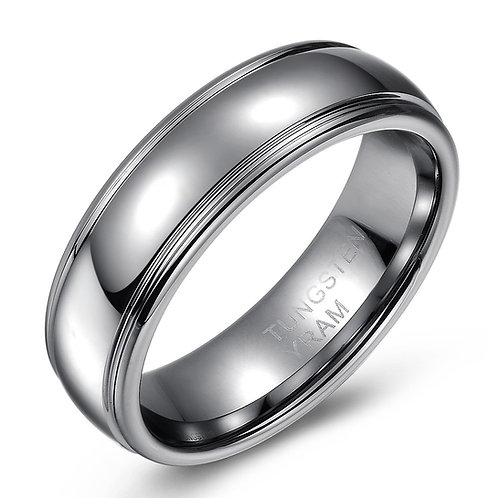 7mm Tungsten domed band high polish with edges