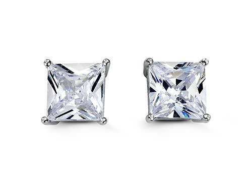 Sterling Silver Square CZ Studs 9mm