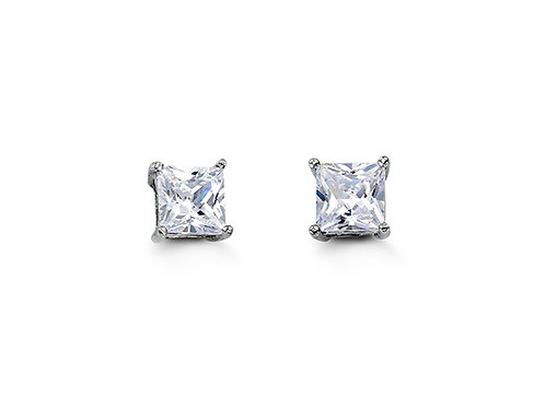 Sterling Silver Square CZ Studs 5mm