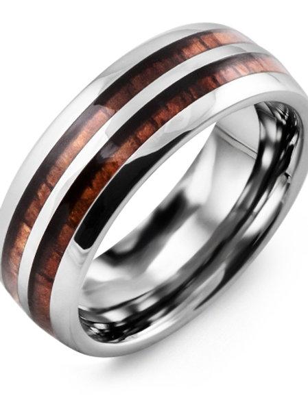 Men's Double Koa Wood Tungsten Wedding Band