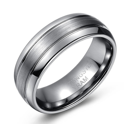 8mm Tungsten band, double line with brushed centre