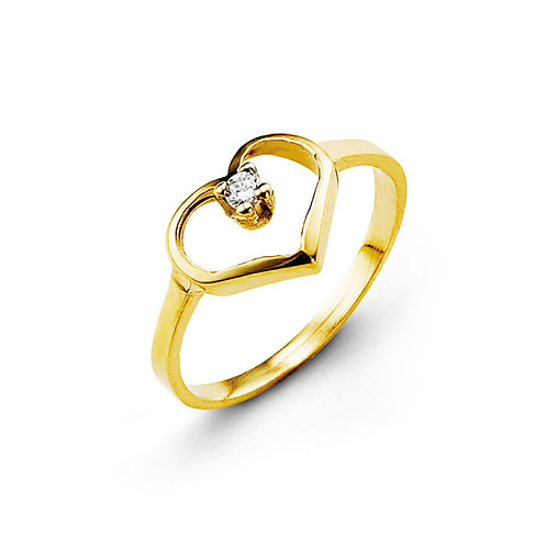 10kt Gold Baby Bella CZ Heart Ring