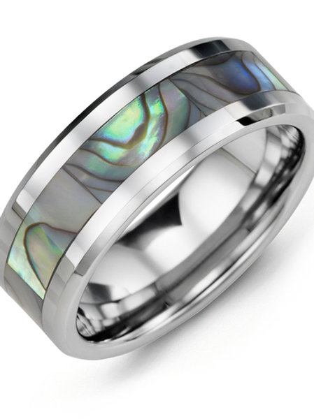 Men's Beveled Shell Inlay Tungsten Wedding Band