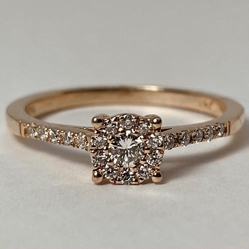 14kt Rose Gold Diamond Halo Engagement Ring