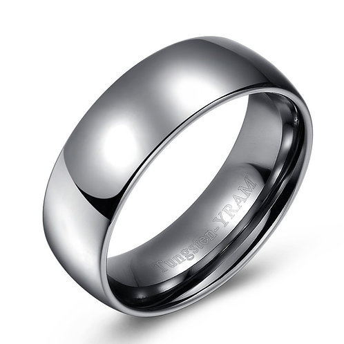 8mm Tungsten band dome top and high polish