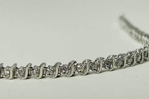 10kt White Gold 1.00ctw Diamond Tennis Bracelet