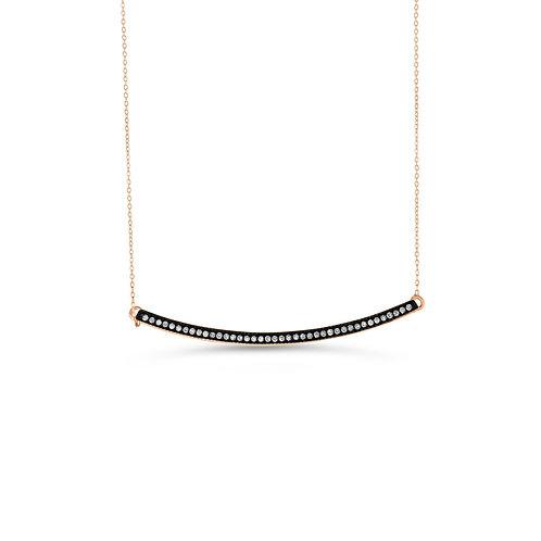 10K RG 0.08CT Diamond Horizontal Bar Pendant with Chain