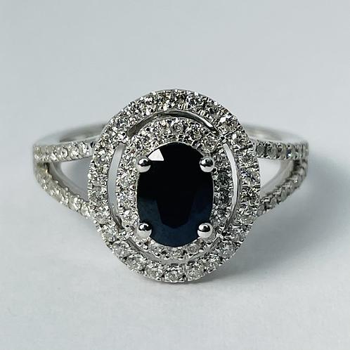 14kt White Gold Blue Sapphire & Diamond Ring