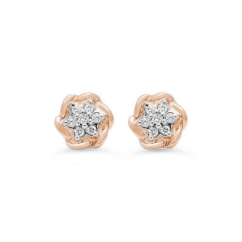 10K RoseGold0.105CT Diamond Flower Earring Posts.