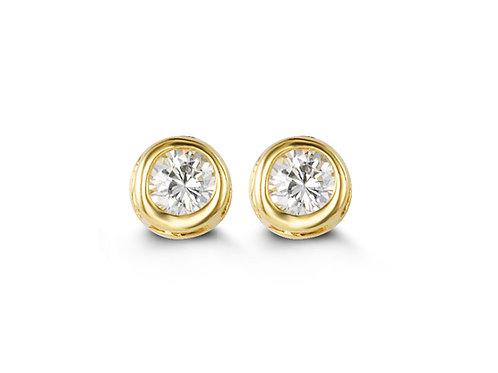 14kt Gold Baby Bella Bezel CZ Stud Earrings