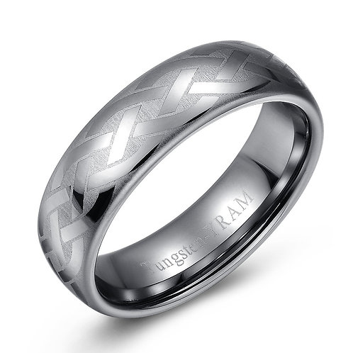7mm Tungsten band domed with Celtic weave
