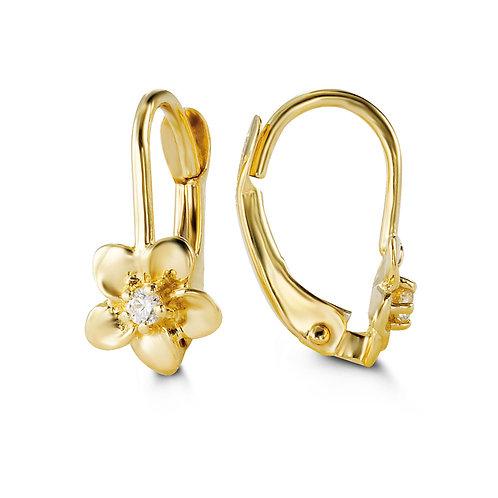 10kt Gold Baby Bella Flower Earrings