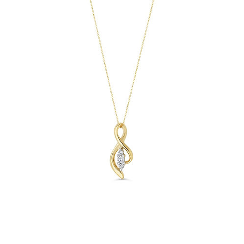10K YG 0.08CT Diamond 3 Stone Open Side Figure 8 Pendant with Chain