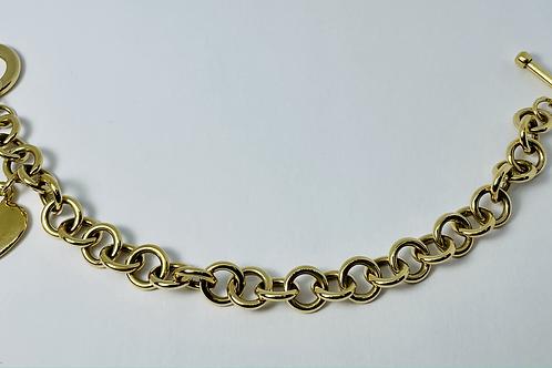 10kt Gold Heart Charm Bracelet