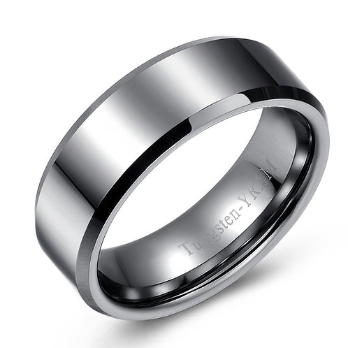 8mm Flat top tungsten band, tapered edges and high polish
