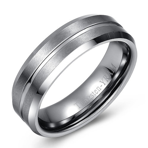 7mm Tungsten band with tapered edges and concave centre