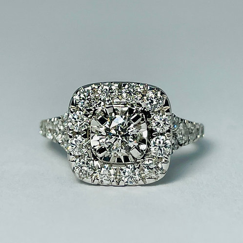14kt White Gold 2.00ctw Diamond Halo Engagement Ring Set