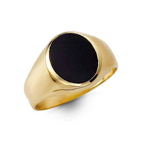 10kt Gold Bella Fierce Men's Oval Black Onyx Signet Ring