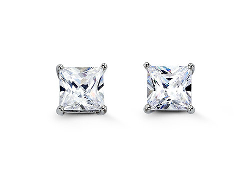 Sterling Silver Square CZ Studs 7mm