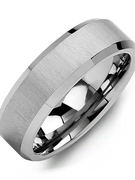 Men's Brush & Beveled Tungsten Wedding Ring