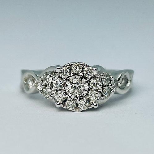 10kt White Gold 0.95ct Diamond Engagement Ring Set