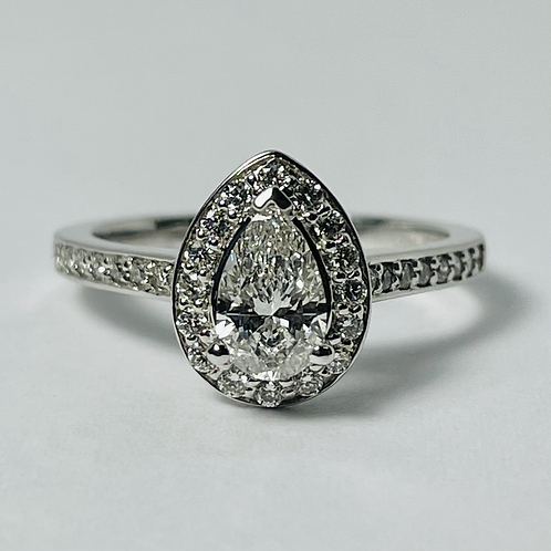 14kt White Gold Pear Shaped Diamond Halo Engagement Ring