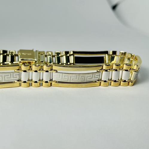 10kt Gold Two-Tone Greek-Key Link Bracelet