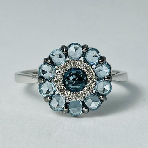 10kt White Gold Blue Topaz & Diamond Ring