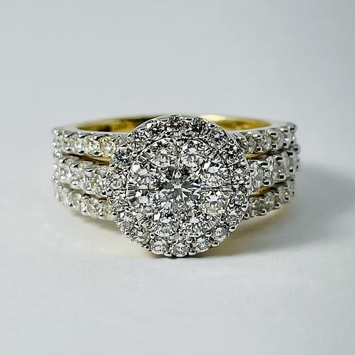 14kt Gold 2.00ctw Diamond Ring 3-Piece Set