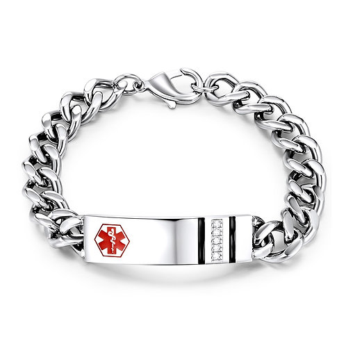 Stainless Steel Medical ID bracelet with CZs and enamel