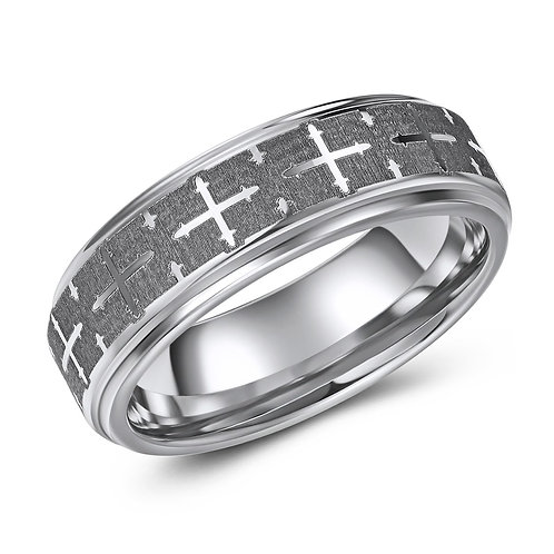 7mm wide flat top tungsten band brushed finish with cross pattern