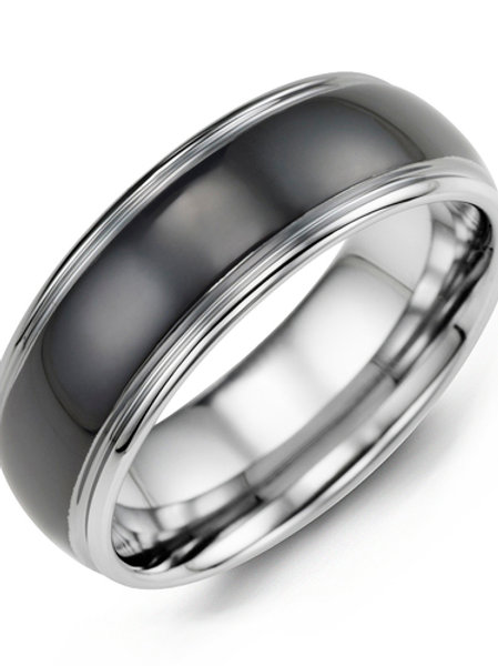 Men's Black Polished Dome Tungsten Wedding Ring