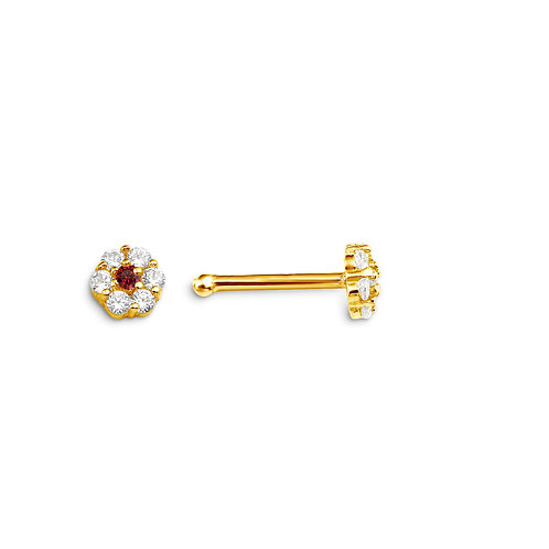 14kt Gold CZ Nosepin, Floral Design with Red CZ Centre