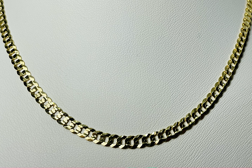 10kt Gold Grooved Curb Chain