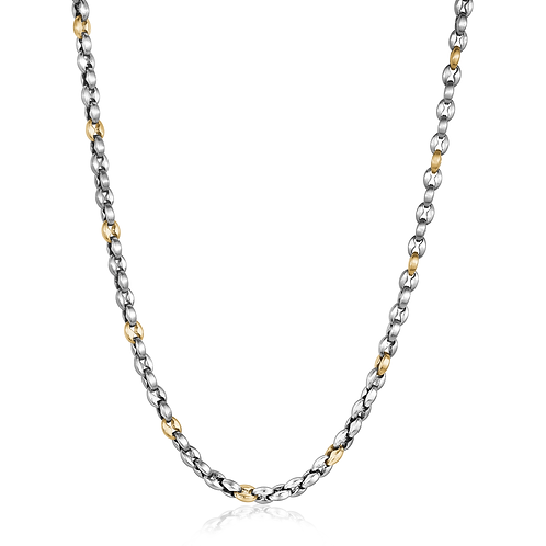 ITALGEM Gold Plated 2-Tone Stainless Steel 4.5mm Oval Link Chain