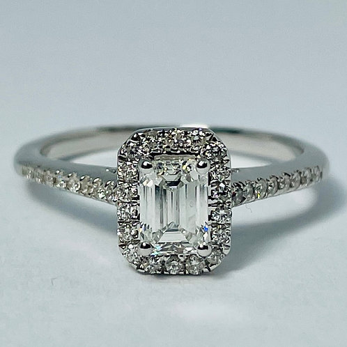 14kt White Gold Emerald Cut Diamond Ring 0.75ctw