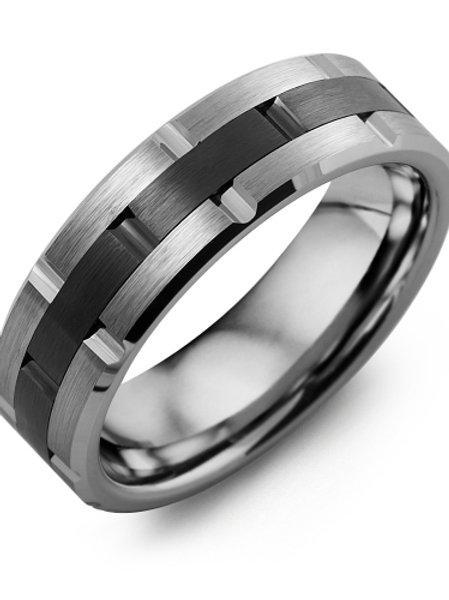 Men's Grooved Tungsten & Ceramic Wedding Band