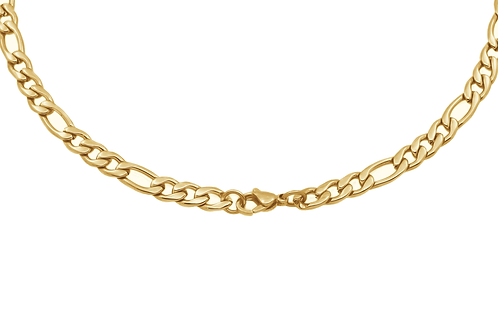 ITALGEM Gold Plated Stainless Steel 6mm Figaro Chain