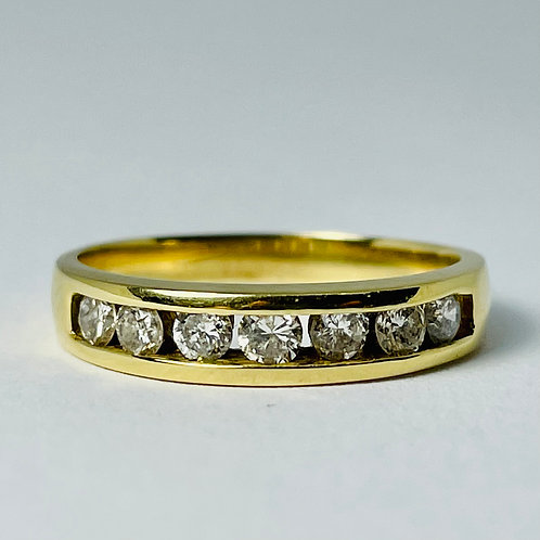 14kt Gold Diamond Band, Channel Set 0.70ctw