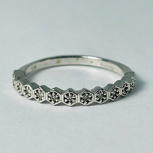 10kt White Gold Diamond Hexagonal Band
