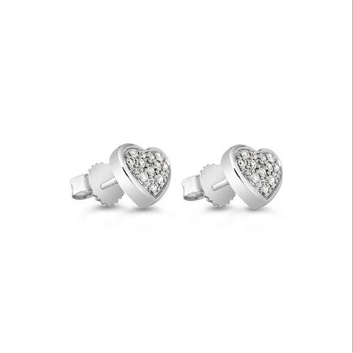 10K WG 0.10CT Diamond Pave Heart Earrings