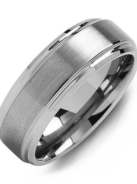 Men's Brushed Tungsten Polished Edges Wedding Band