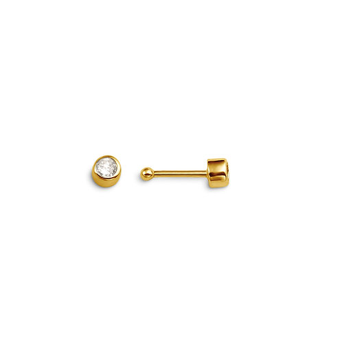 14kt Gold CZ Nose Pin with CZ Bezel, Bead End